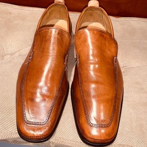 Cole Haan Brown Leather Apron Toe Venetian Loafer